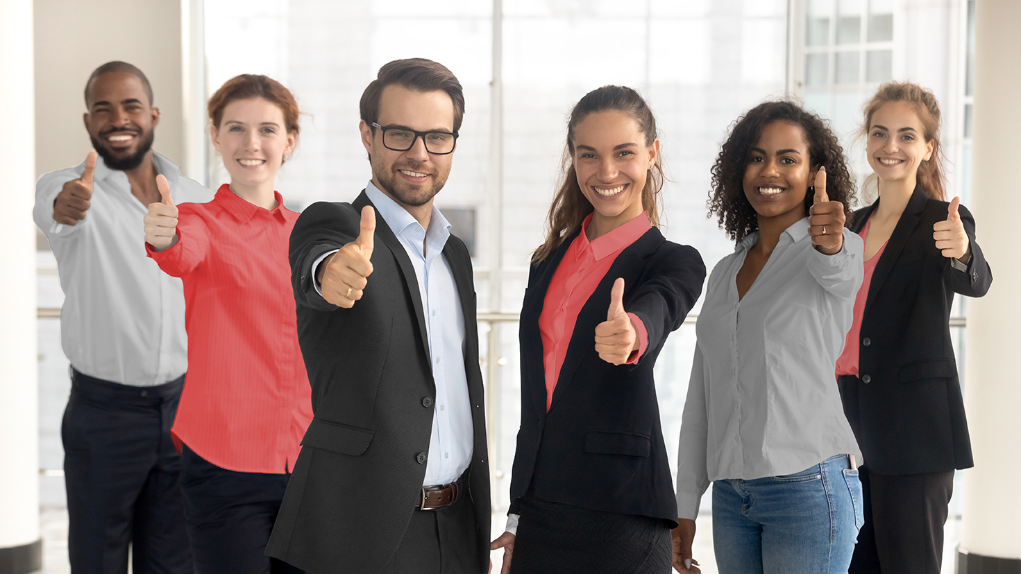 Business leaders with employees group showing thumbs up